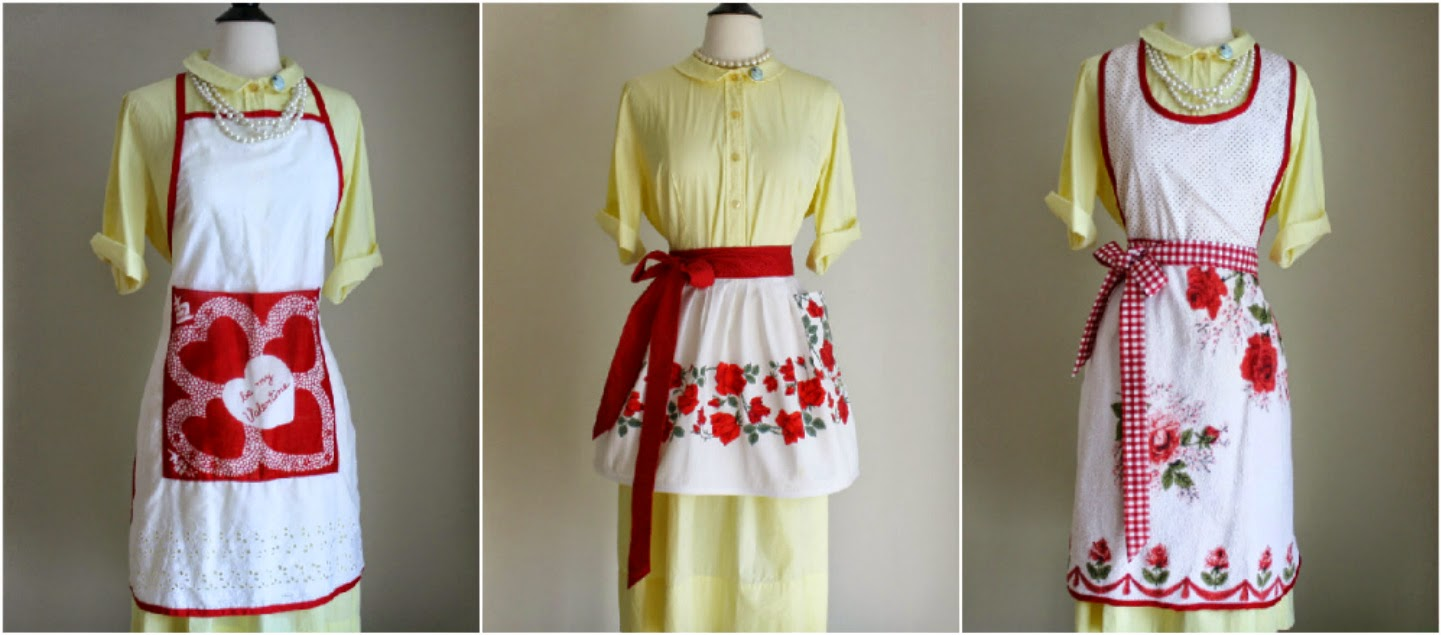I Made These Aprons From Vintage Fabrics That Have Stood The Test Of Time!  Most Of The Fabrics Are From The 1950u0027s And Theyu0027re Still In Excellent  Shape And ...