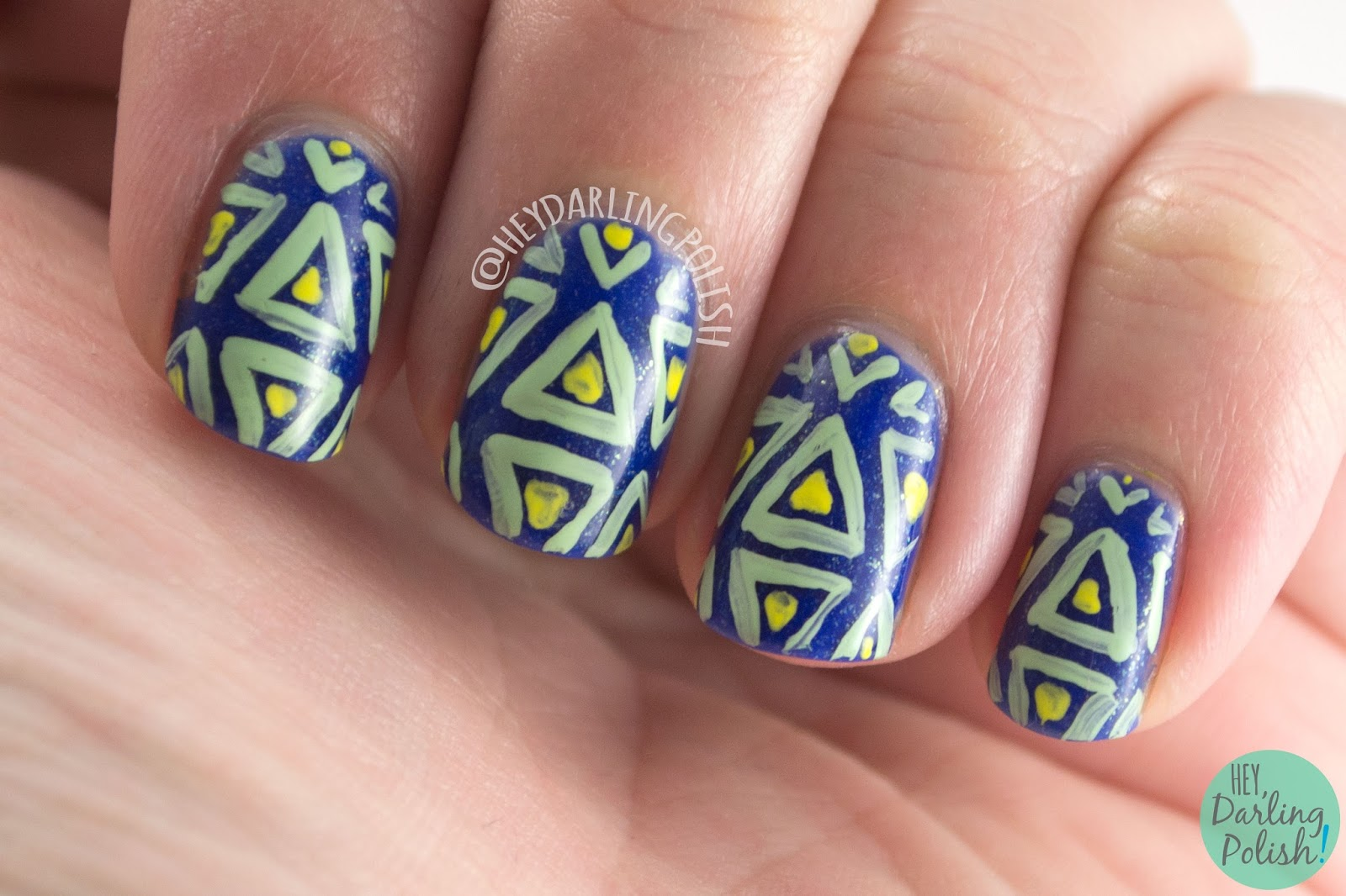 nails, nail art, nail polish, triangles, indie polish, hey darling polish, geometric, 52 week challenge