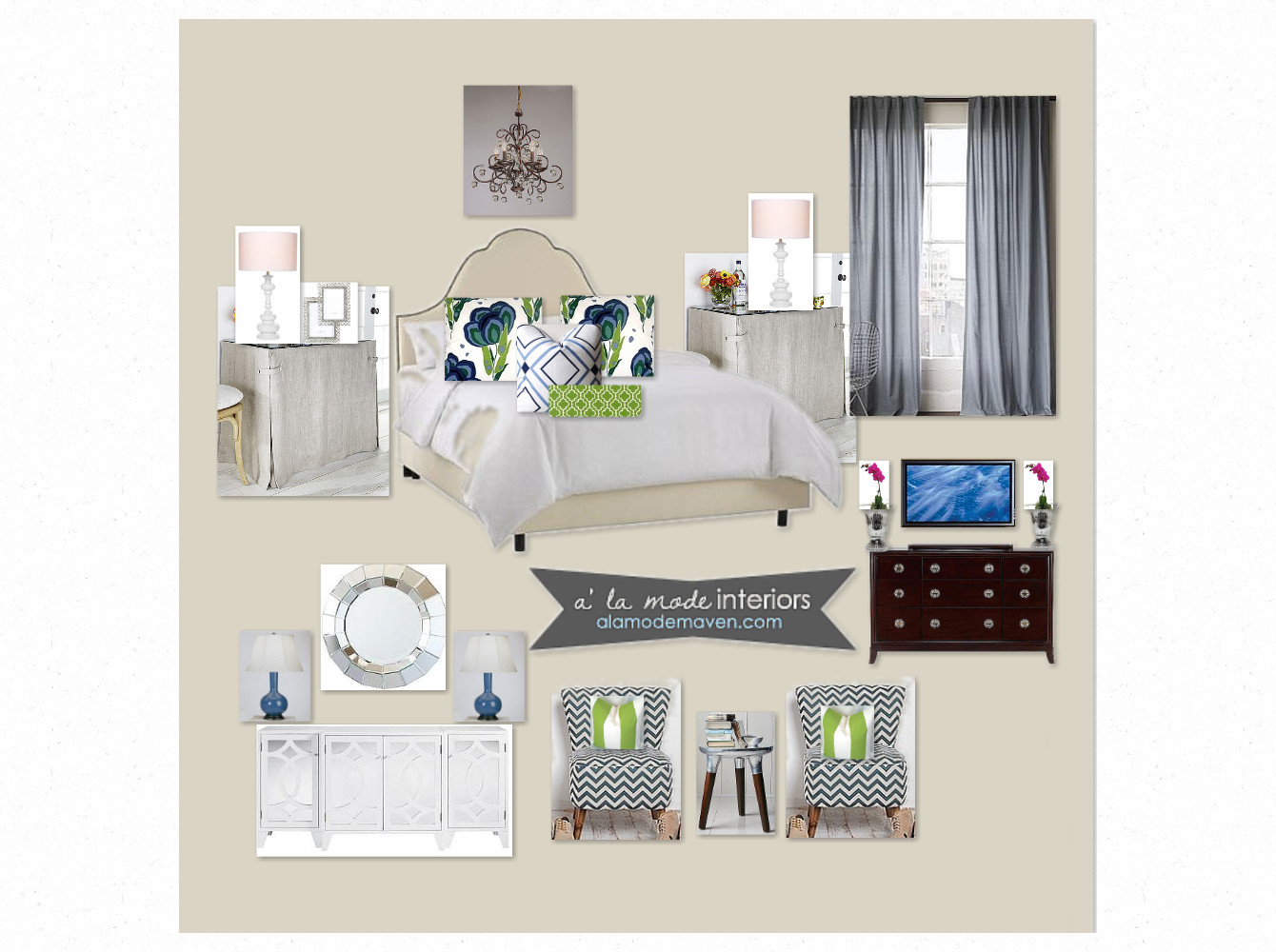 alamode Navy and Green Master Bedroom E Design