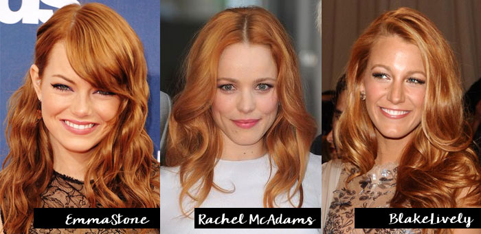 emma stone, rachel mcadams, blake lively, hair, cabelo, ruivo, strawberry blonde