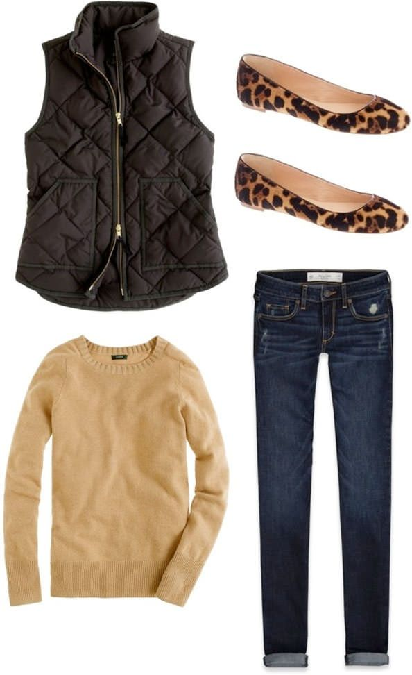 Sleeveless coat, cheetah shoes, sweater and jeans for winters