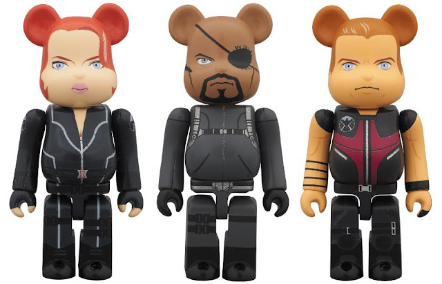 Marvel's The Avengers Movie 100% Be@rbricks by Medicom - Black Widow, Nick Fury &amp; Hawkeye Vinyl Figures