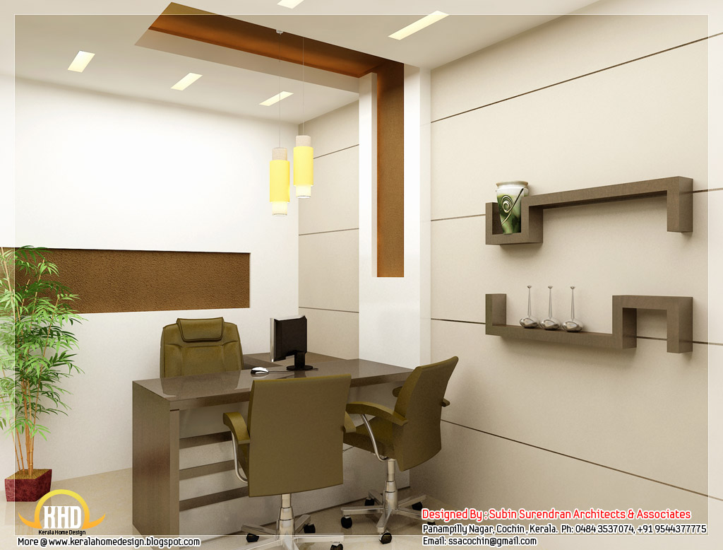 Beautiful 3d interior office designs home interior design for Home office interior design ideas