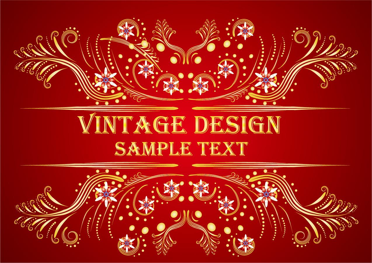 金色の飾り罫が豪華な背景 european classical background pattern イラスト素材