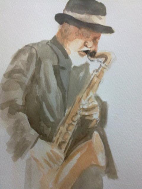 acuarela con saxofonista