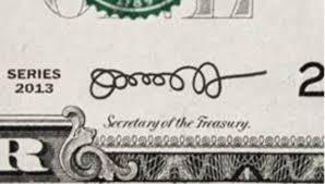La firma extraña que aparece en el billete del dólar