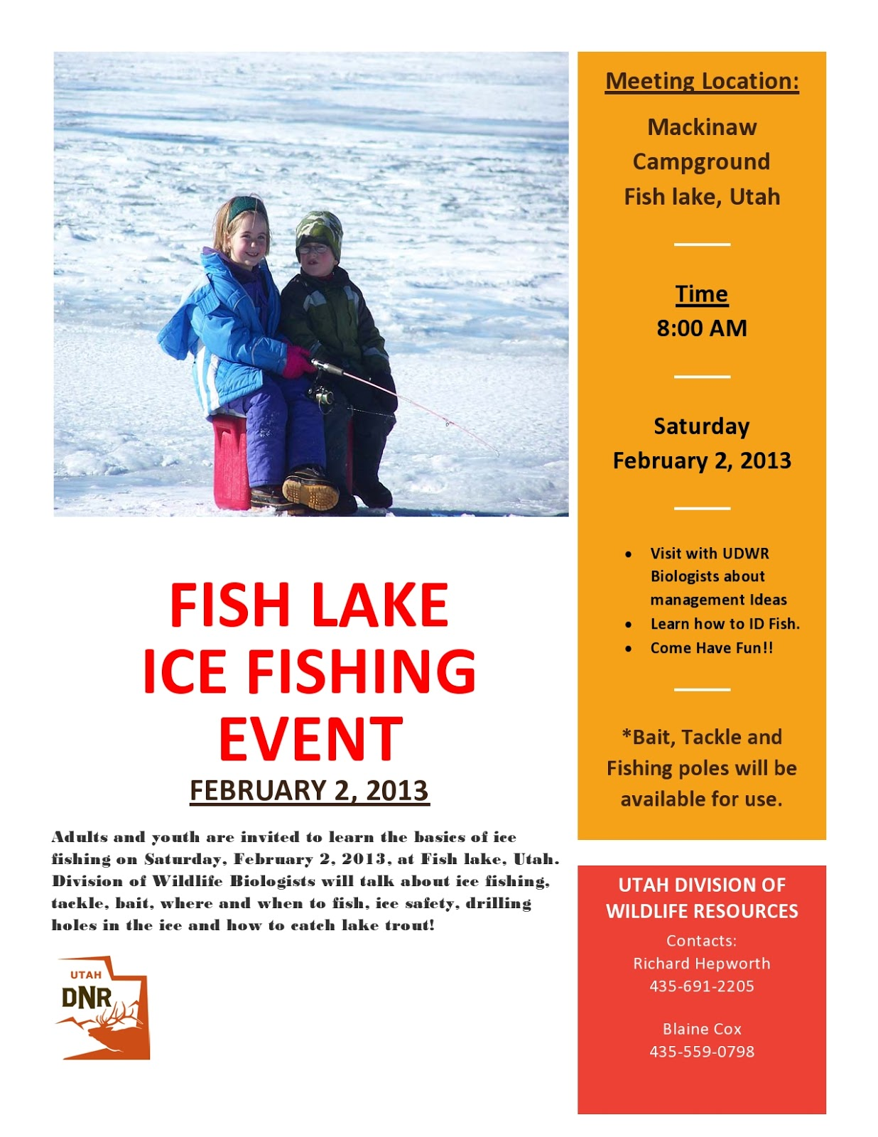 Southern utah hunt and fish jan 12 2013 for Panguitch lake fishing report