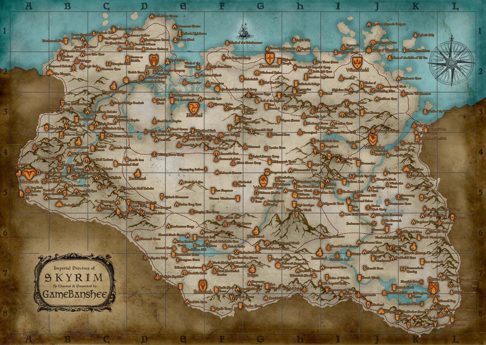 mapa skyrim localizaciones