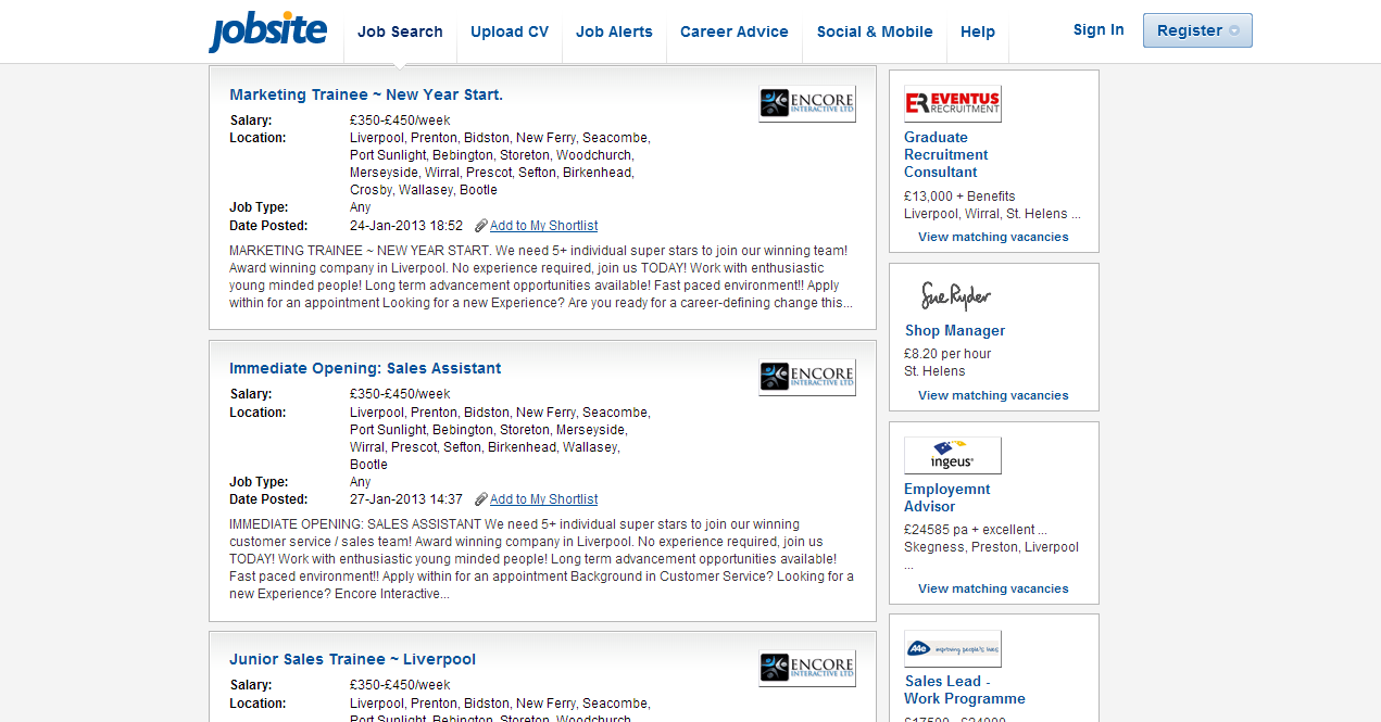 stop looking at me swan internet job websites and scam jobs now as you can see them first three jobs are all the same company offer the same money and have the same job description yet they have different job