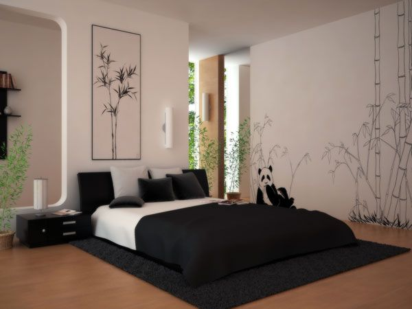 Modern Bedroom design with black and white
