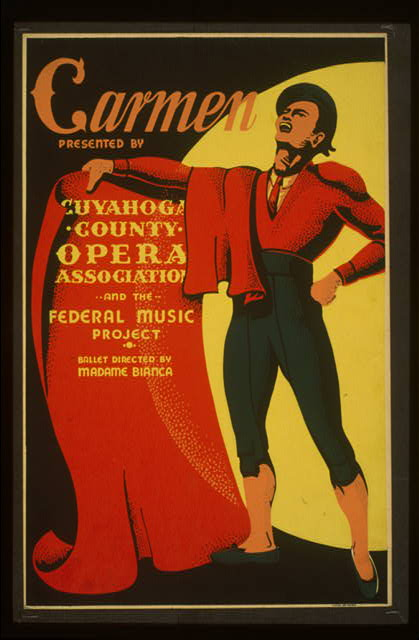 theater, federal music project, movies, vintage, vintage posters, opera, retro prints, classic posters, graphic design, free download, Carmen, Cuyahoga County Opera - Vintage Theater Poster