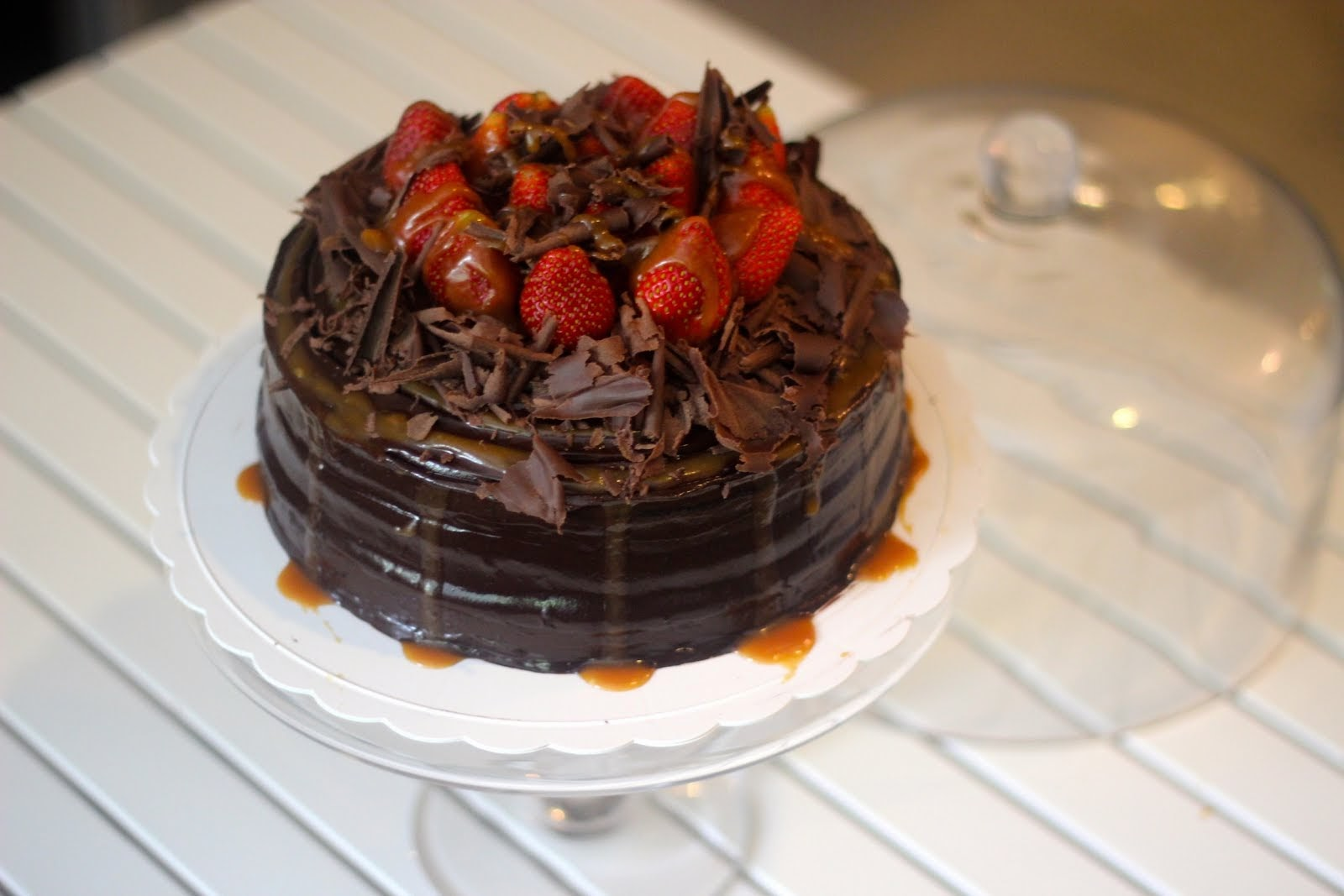 Rich Chocolate Butterscoth Pecan Top With Strawberry