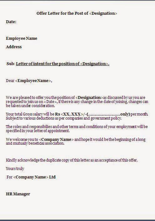 Job offer letter template word job offer letter template in word format spiritdancerdesigns Gallery