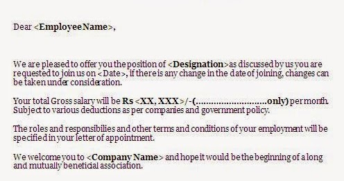 Job Offer Letter Template In Word Format