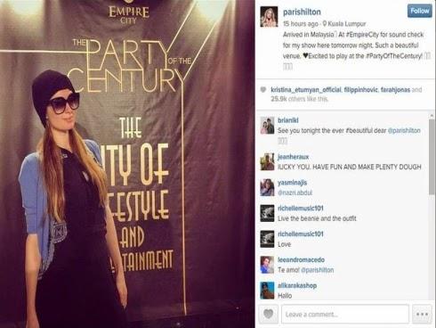 Paris Hilton tiba di Malaysia konsert malam ini