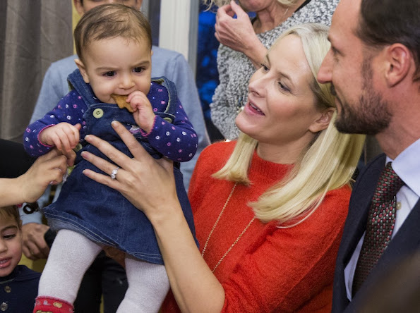 Crown Prince Haakon and Crown Princess Mette Marit of Norway visited the Dikemark refugee reception centre