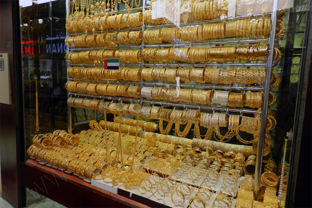 Dubai gold souk - gold jewelry window display