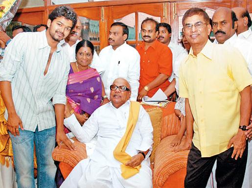 Vijay with S.A. Chandrasekaran & DMK Leader Karunanithi