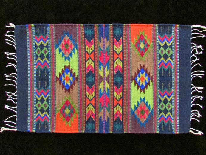Nice Blue, Green, Orange Mexican Accent Rug: Blue With Orange, Green, Brown,  Red, Tan, Lavender, Teal, Yellow; Rombo Zic Zac (rhombus Zig Zag) Design.