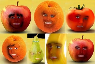 fruta caras naranja plátano tomate pera