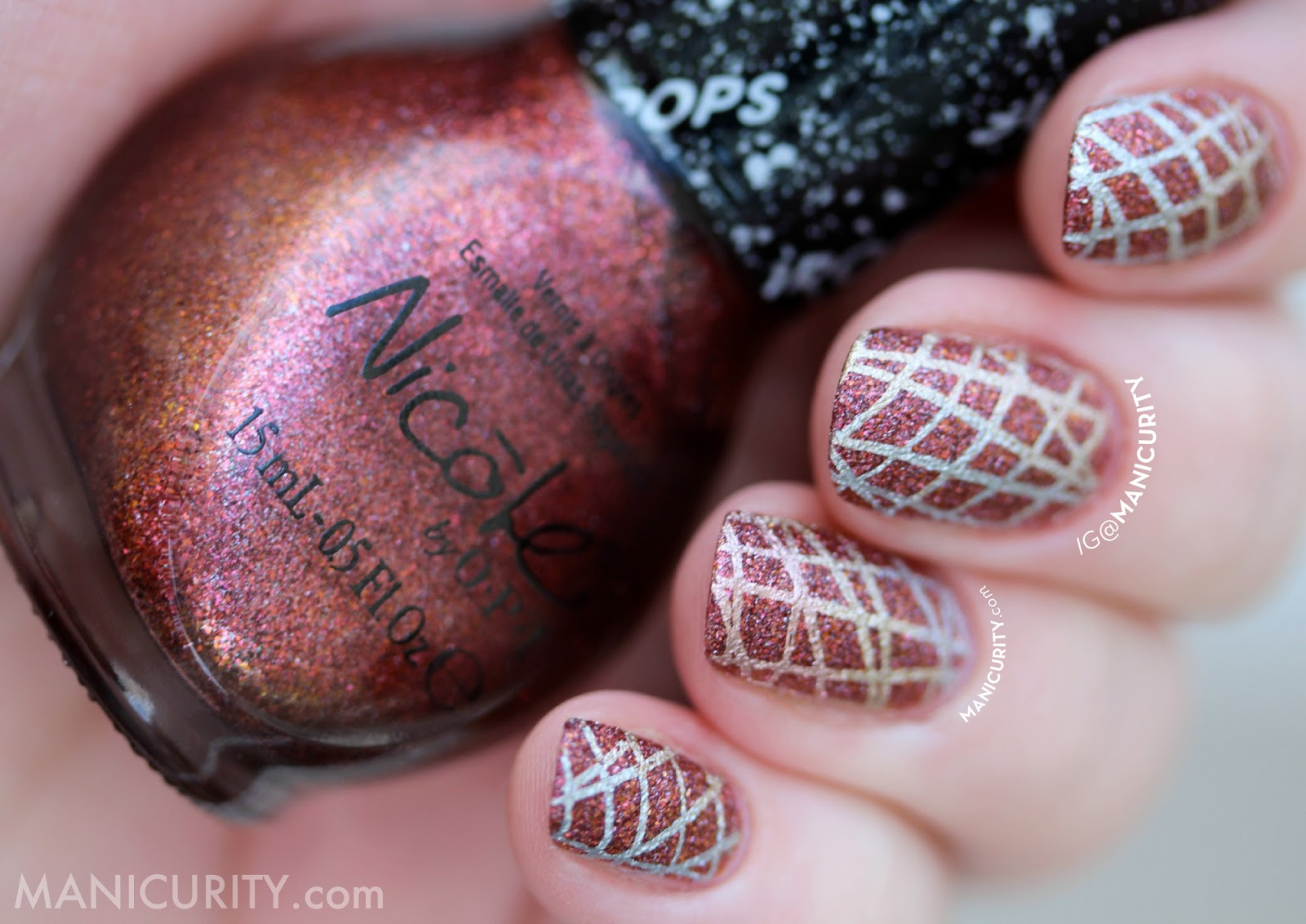 The Digit-al Dozen does Texture: Nicole by OPI Gumdrop Cinna-Man of My Dreams Nails with Mixed Metal Gradient Stamped nail art | Manicurity