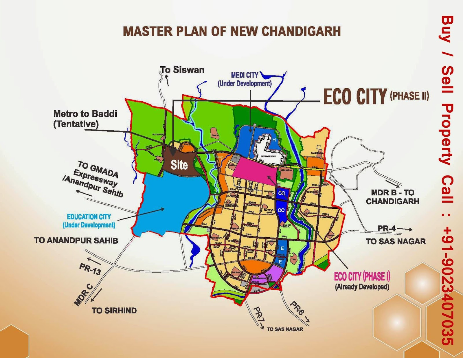 Location Map For Ecocity in Mullanpur,  Contact for site visit, & Best Deals: +91-90234-07035