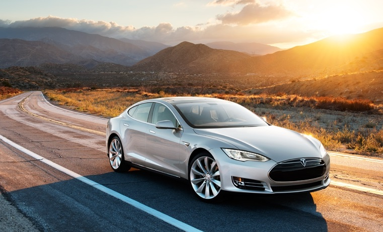Tesla Model S front view in the desert