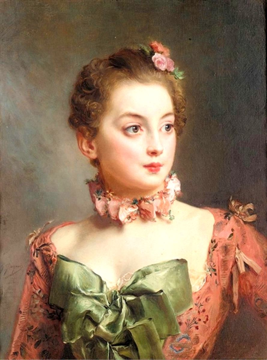 Marie antoinette and portraits of beautifully clothed women circa late