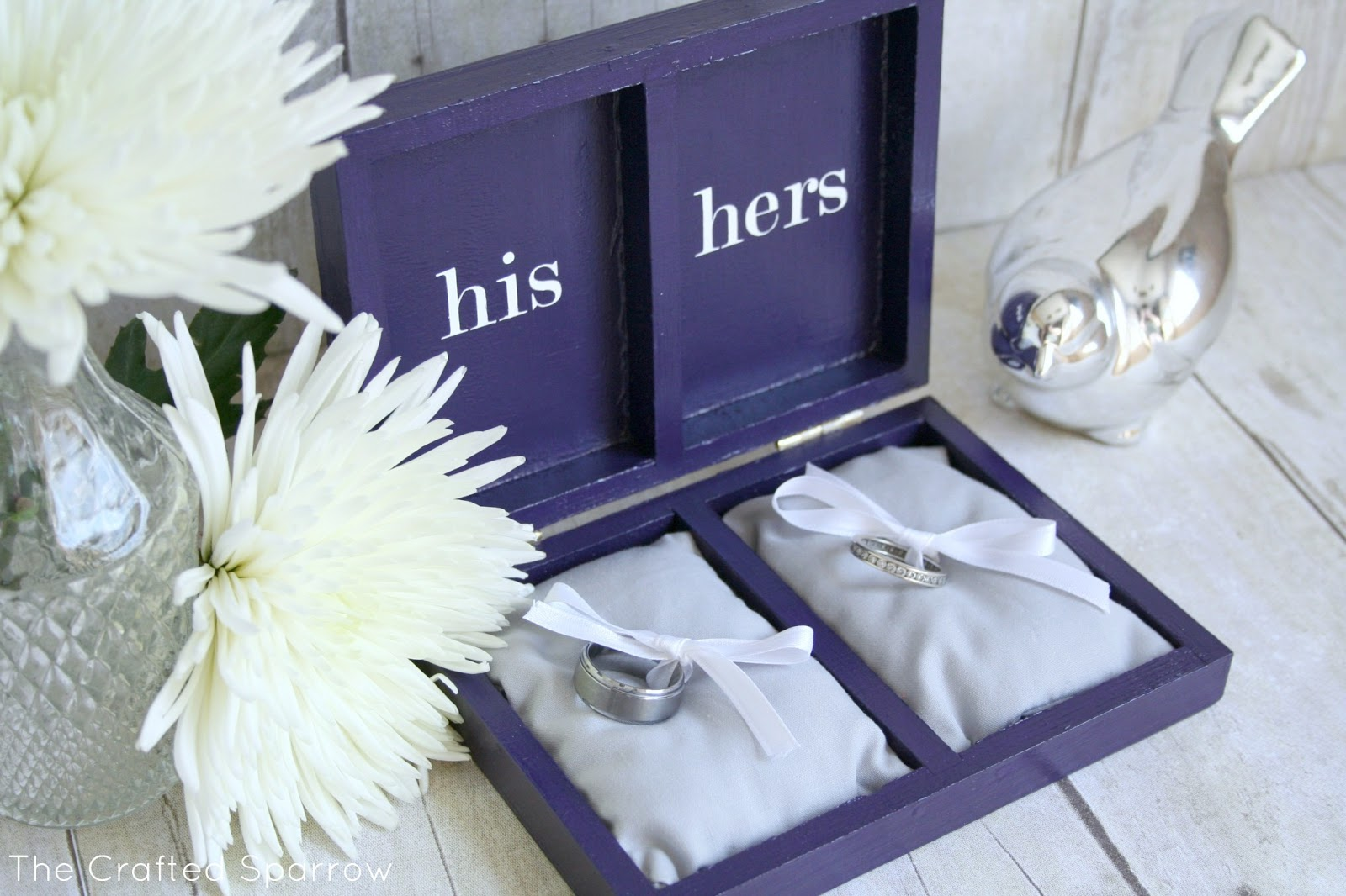Monogrammed ring bearer box the crafted sparrow i found this perfect little wood box at hobby lobby the wedding colors are royal blue with touches of royal purple i painted the box with acrylic paint junglespirit Images