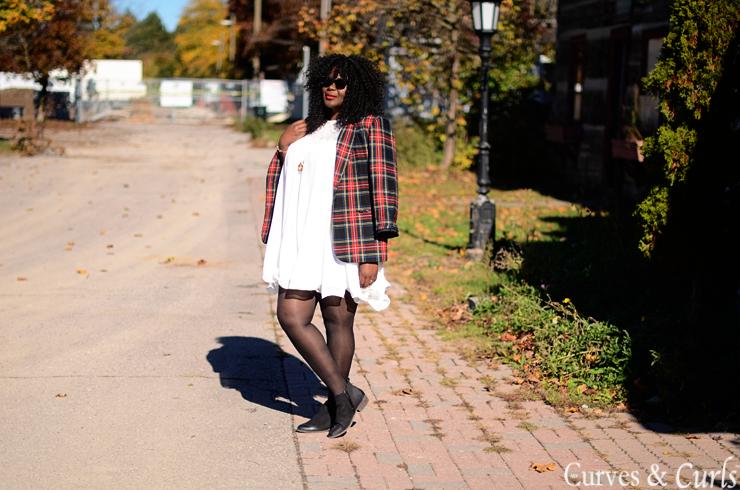 Fall for plaid plus size plaid blazer and a white dress #plussize fashion for women #mycurvesandcurls #Assacisse