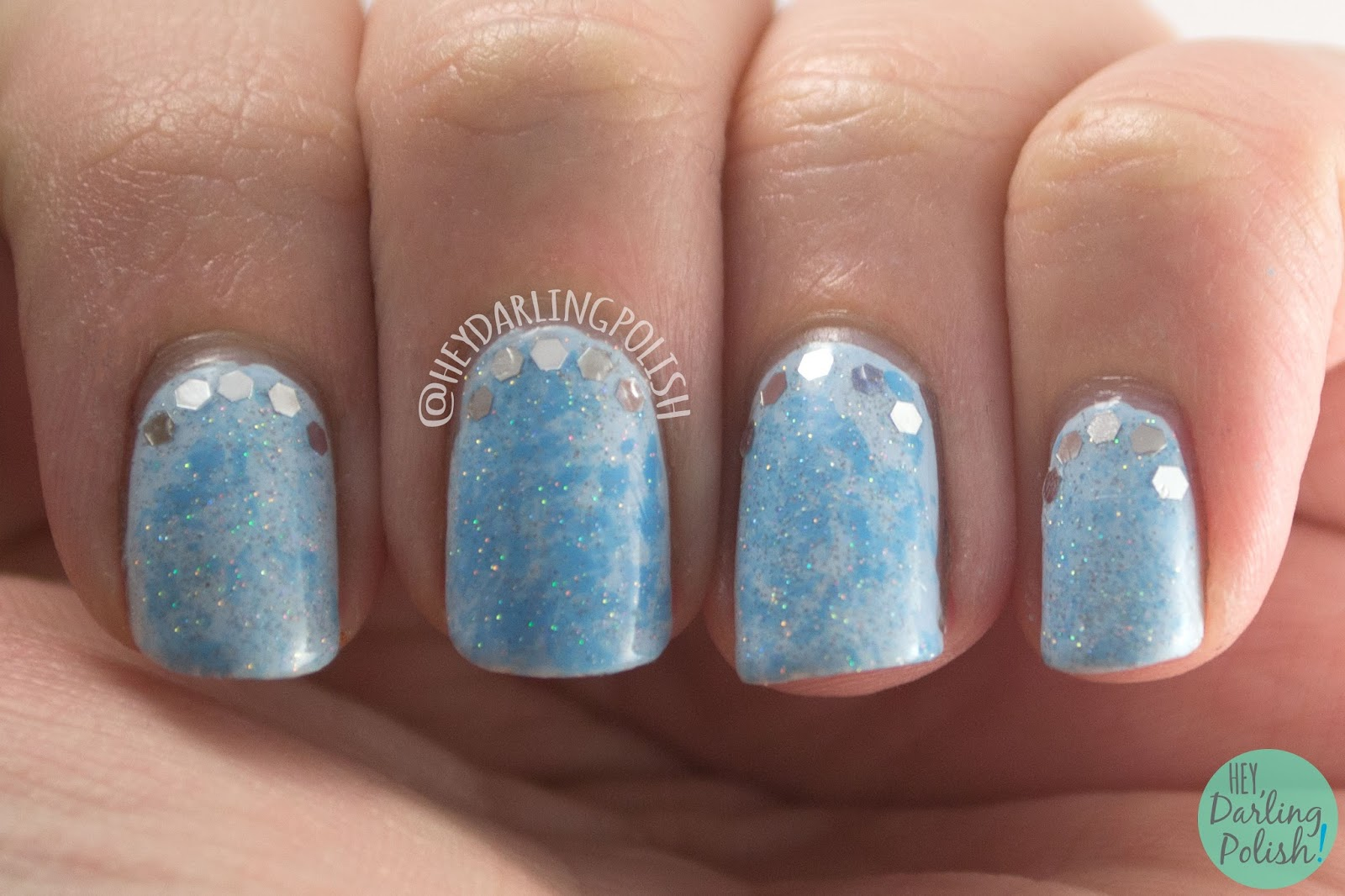 nails, nail art, nail polish, blue, saran wrap, glequins, hey darling polish, nail linkup, sparkles, cinderella