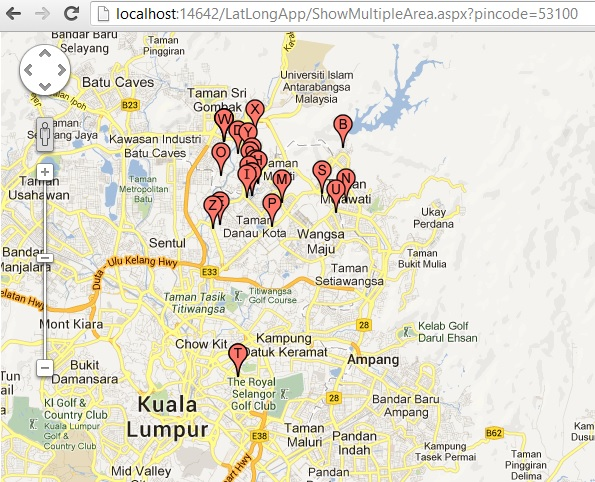 Multiple marker with labels in google map   ASP.NET,C#.NET,MVC