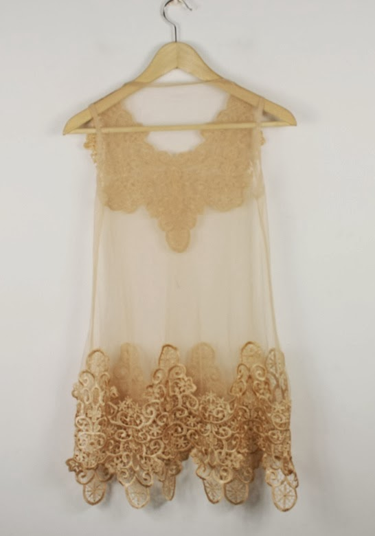 Apricot Lace Embroidery Sleeveless Blouse