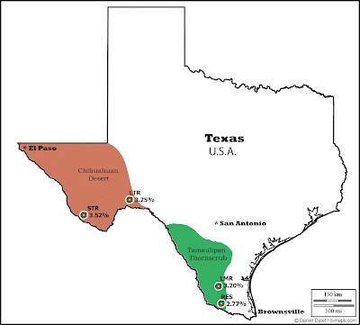 Map showing geographic location and average mescaline concentration of Texan peyote populations