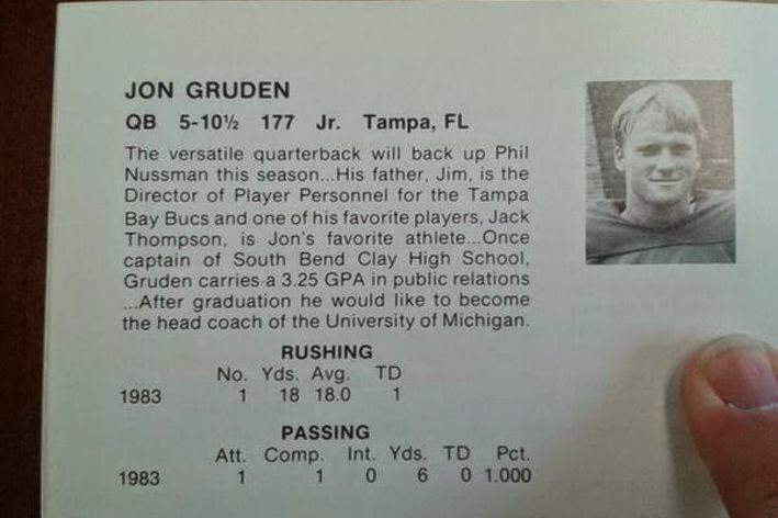 Yes, there's a Jon Gruden to Michigan meme, via 1984 media guide.