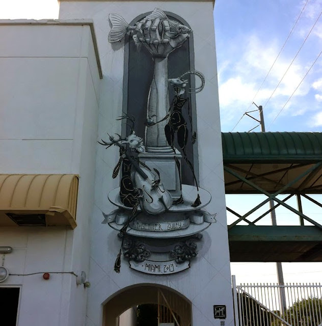 """""""Together Guilty"""" New Street Art Mural By German Artist Dome For Art Basel Miami 2013. 1"""