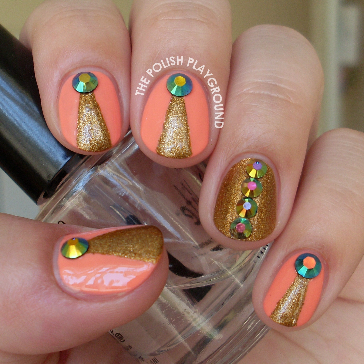 Peach and Gold with Round Rhinestones Nail Art