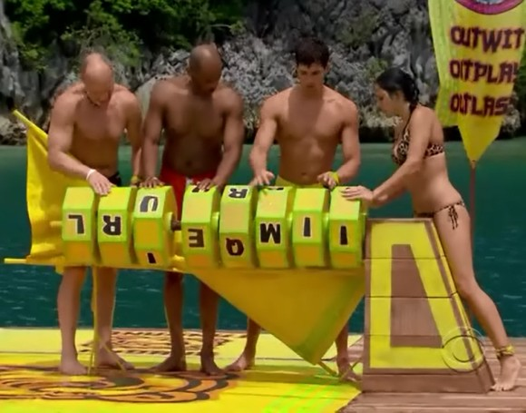 RC Saint Amour solving a puzzle in the immunity challenge