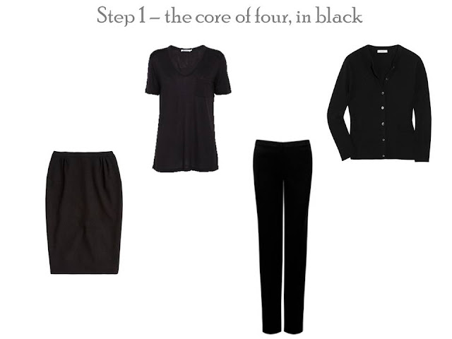 A Core of Four in black - skirt, pants, tee and cardigan