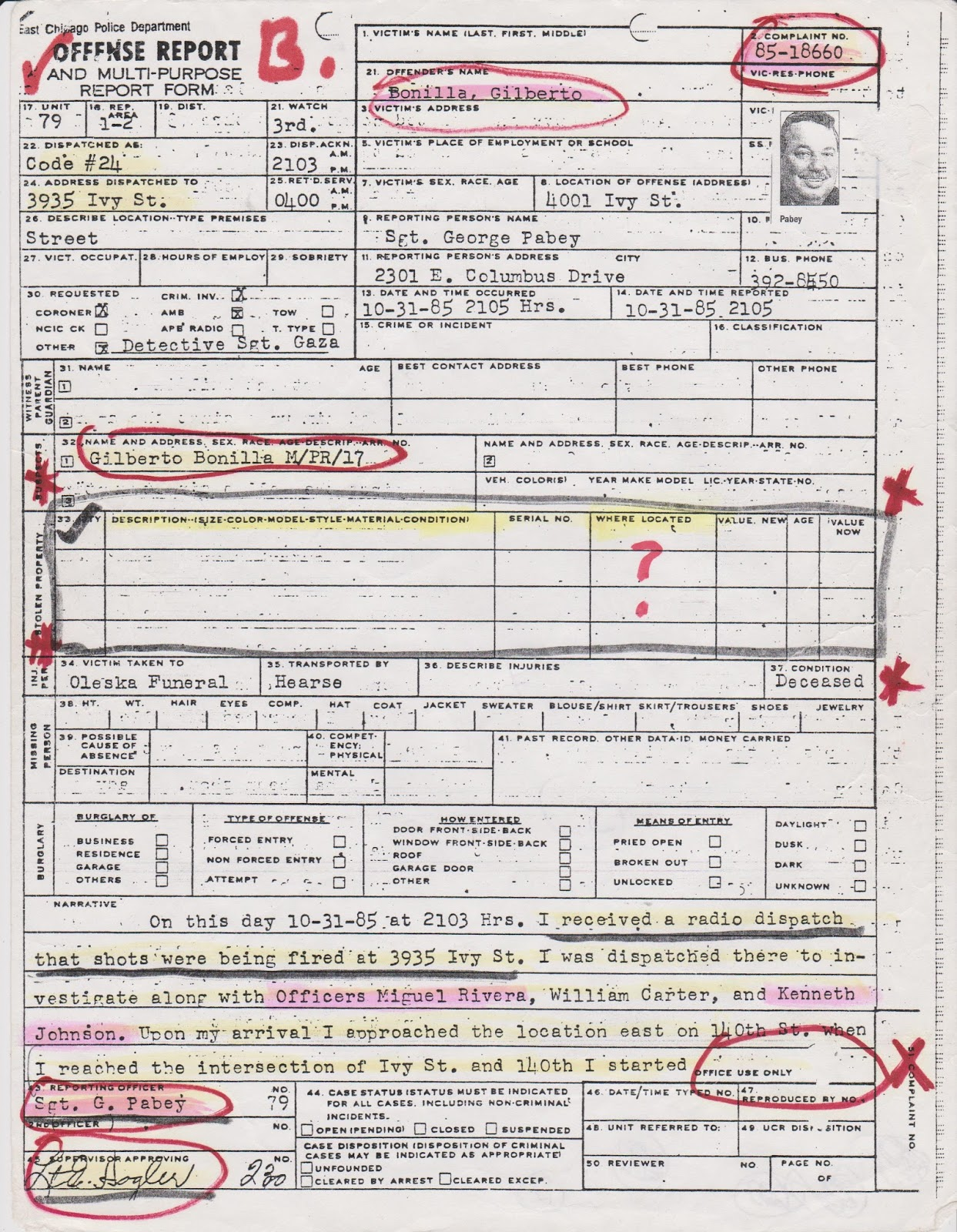 From The Streets Our Pedigree – Sample Homicide Police Report