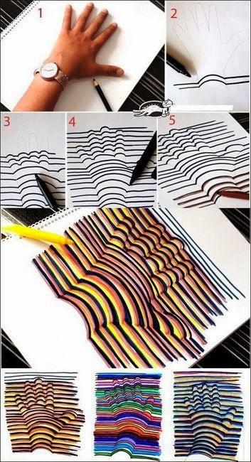 DIY 3D HANDPRINT造法步驟說明,運用曲線配合直線畫出3D立體圖案