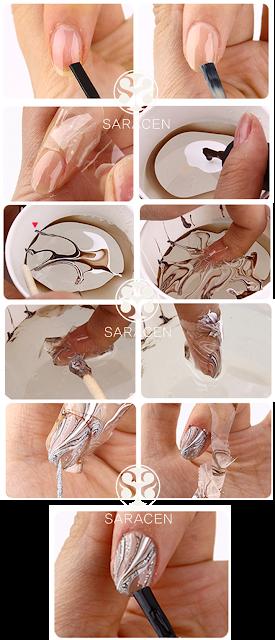 Water Marble Nail Art, Water marbling Nail Art