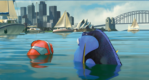 View of Sydney Harbor, opera house and bridge in Finding Nemo