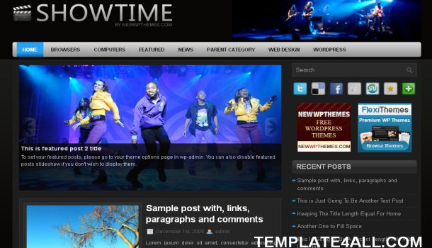 Free Music Black Blue WordPress Theme