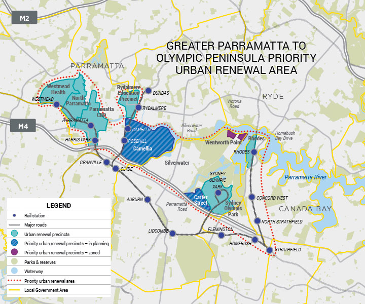 Friends of Sydney Metro Olympic Corridor part 4 renewal area map