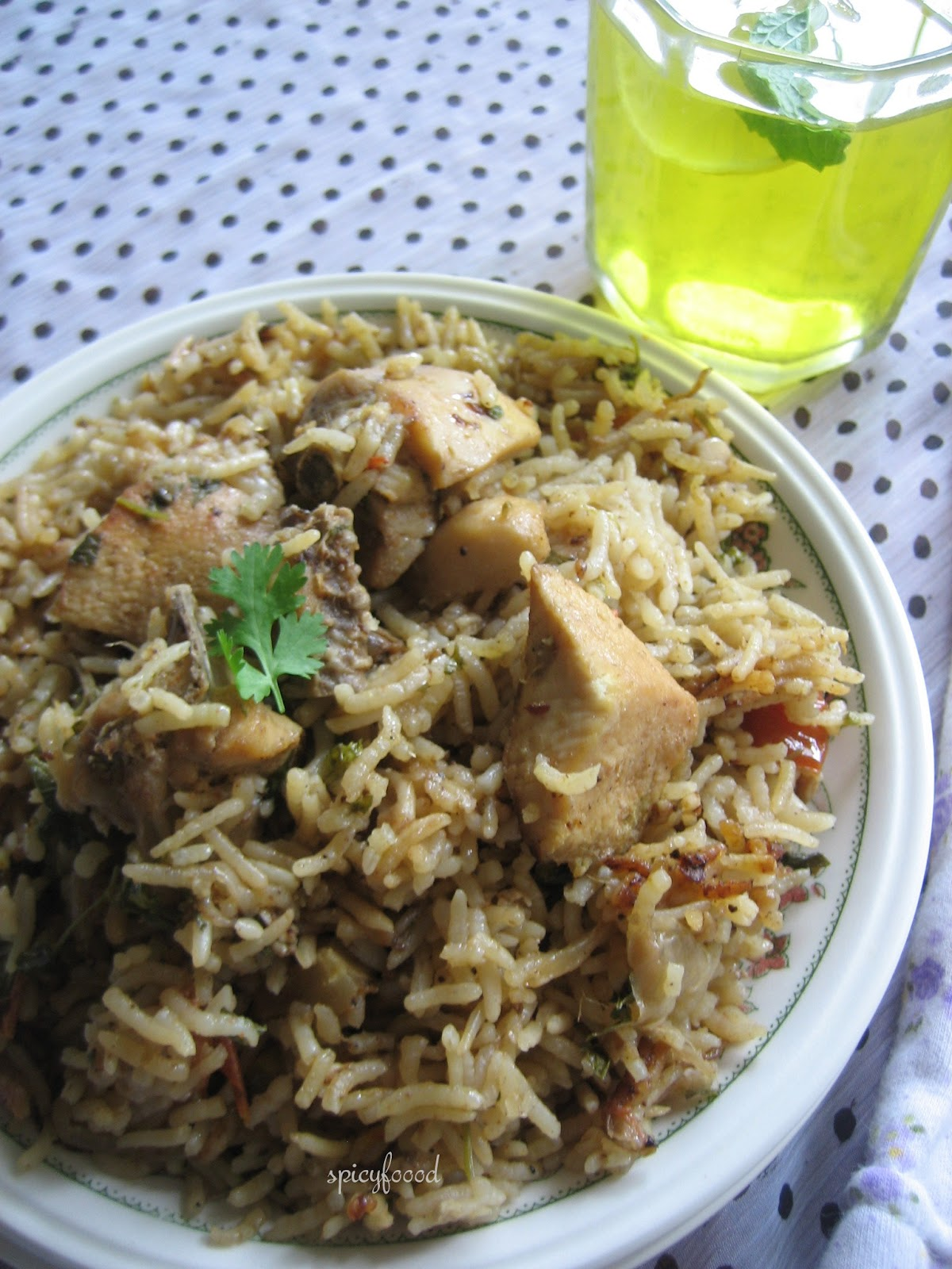 Spicy foood chicken biryani with home ground spices for Chicken biryani at home