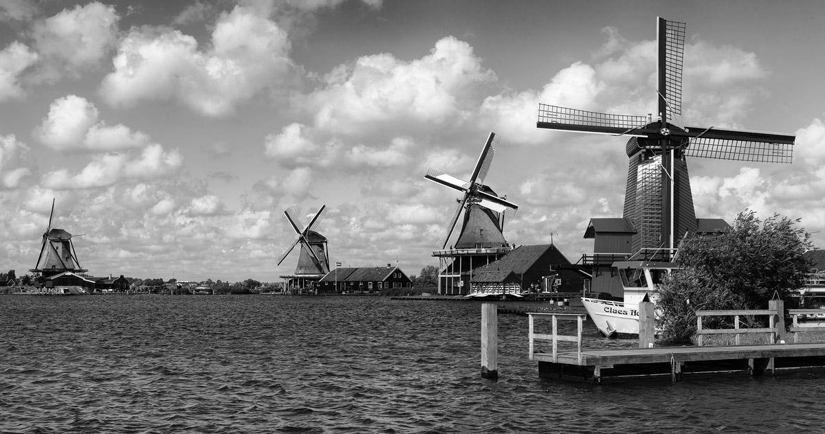 Zaanse Schans windmills black and white bw amsterdam holland netherlands channel river
