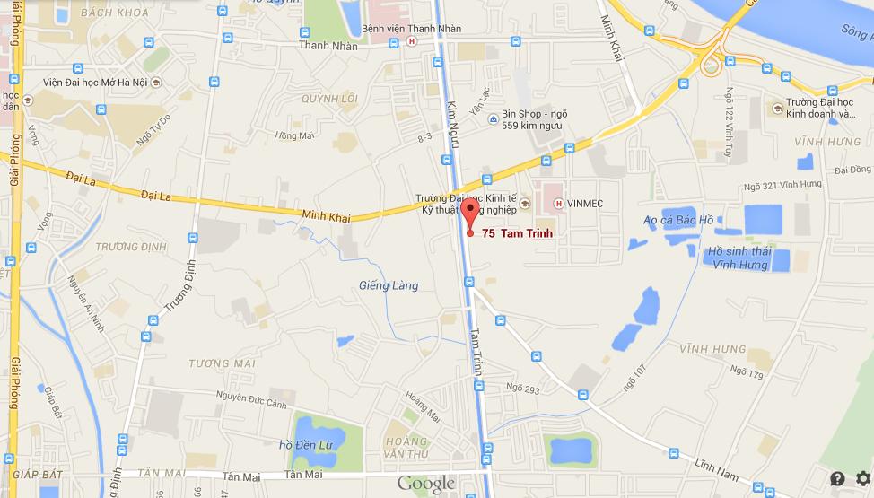 Vị trí chung cư 75 Tam Trinh, Hoàng Mai
