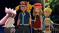 Ash con Diancie y sus amigos