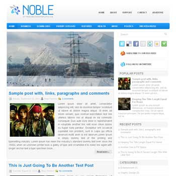 Noble blog template. magazine blogger template style. magazine style template blogspot